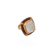 Garnet chalcedony ring